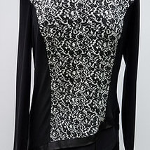 Long Sleeve Fukuro Jacquard Black/Off White Asymmetrical Combo Top by Pi... - $45.90