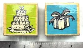 Wedding Cake Gift Present Vap Scrap 2 Rubber Stamp Bundle Birthday Ellen Vener - $11.60