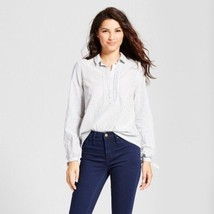Women's A New Day Long Sleeve Stripped Tie Sleeve Shirt  Blue Spell Size... - $7.91