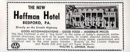Hoffman Hotel Bedford PA Directly on the Lincoln Highway 1956 Travel Tou... - $10.99