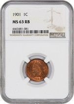 1901 1c NGC MS63 RB - Indian Cent - $92.15