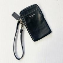 COACH New York BLACK LEATHER PHONE WALLET CLUTCH ORGANIZER WRISTLET Trav... - $39.59