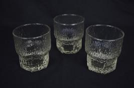 Glass Tumblers Iridescent Moonglow Set 3 Textured Tree Bark Barware - $29.70