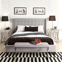 Queen Size Grey Linen Fabric Nailhead Wingback Tufted Upholstered Bed Headbaord - $589.05