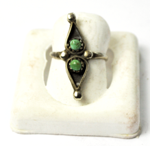 Antique Sterling Dainty Green Turquoise Dot Shadow Box Pea Pod Ring 25mm... - £35.26 GBP