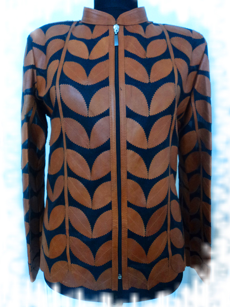 Womens brown leather leaf jacket xl 1