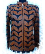 Womens brown leather leaf jacket xl 1 thumbtall