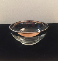"""Vintage 60s MCM Silver Ombre rimmed 4.75"""" small glass bowl image 2"""