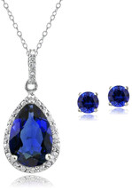 GemStar USA Sterling Silver Created Blue Sapphire Teardrop Necklace and ... - $102.64