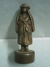 Antique small woman Portuguese regional costume in broze statue figure B... - $20.78