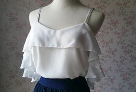 Cold Shoulder White Chiffon Top Wedding Bridesmaids Chiffon Top Plus Size image 1