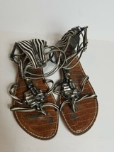 Sam Edelman Leather And Real Fur Sandals Womens Size 8M Zebra Plastic Crystals - $48.99