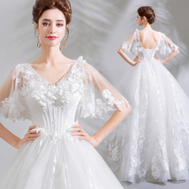 Vintage White V-Neck Lace Wedding Dress Ball Gown Women Bridal Gowns 2019 Cheap - $123.55