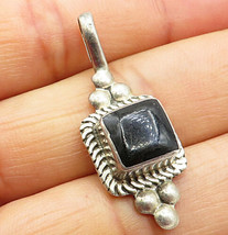 ATI MEXICO 925 Silver- Vintage Petite Square Inlay Black Onyx Drop Penda... - $39.58