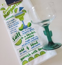 Margarita Glass and Kitchen Towel, Green Cactus Stem 16oz Drinks Recipe Gift image 3
