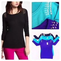 EXPRESS STUDDED BATEAU NECK RUCHED SLEEVE SWEATER - $29.99