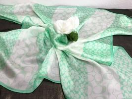 NWT Coach Resort Stripe 27 x 27 Square Mint Green Silk Scarf Neck Wrap -... - $59.39