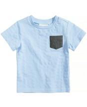 First Impressions Baby Boy's Aqua Blue Stripe Pocket T-Shirt Size 3-6 Months - $4.89