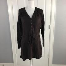 LUSH Women Dress Large Brown Fringe Shirt Dress - $17.00