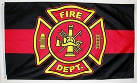 Fire Department Thin Red Line Memorial Flag 3' X 5' Indoor Outdoor Banner - $9.95