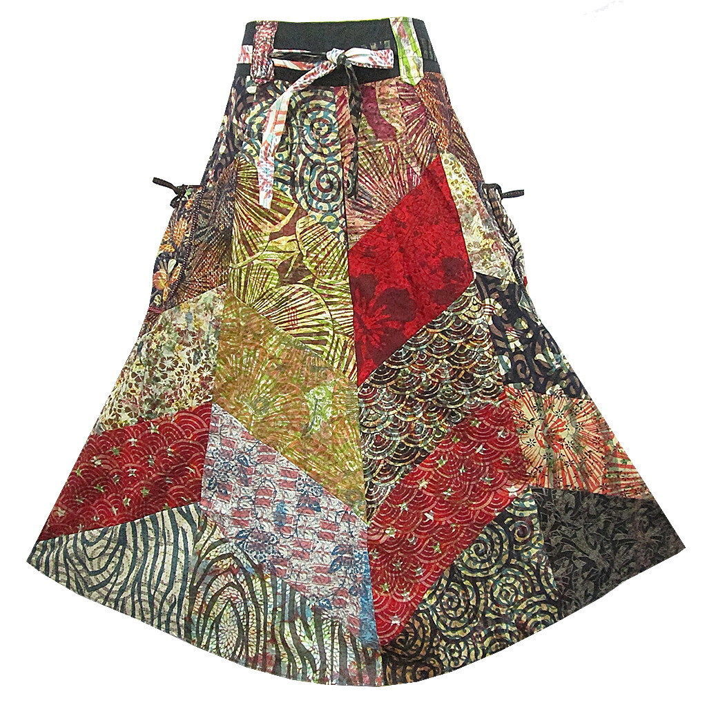 BOHO/HIPPY/GYPSY PATCHWORK POCKET-SIDE TIE WAIST COTTON SKIRT  M0719