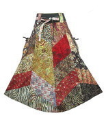BOHO/HIPPY/GYPSY PATCHWORK POCKET-SIDE TIE WAIST COTTON SKIRT  M0719 - £21.39 GBP