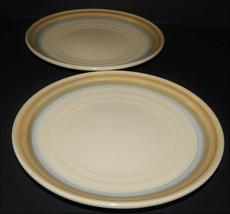 2 Noritake Painted Desert 8603 Stoneware Dessert Salad Plates Tan Blue Rings - $32.66