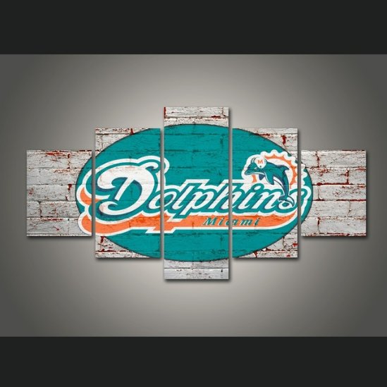 5 Panels Miami Dolphins Team Vintage Painting Canvas Wall Art Picture Home Décor for sale  USA