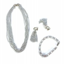 VTG Sarah Cov Cascade Collection Parure Silver Tassel Necklace/Earrings/Bracelet - $47.92