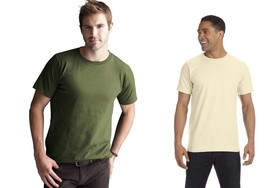 NEW Men's Anvil 100% Organic Cotton T Shirt Natural Raw or Green $40 retail - $7.84+