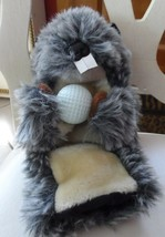 "Gray gopher holding a golf ball Golf Club Cover Plush faux fur 12""  - $19.50"