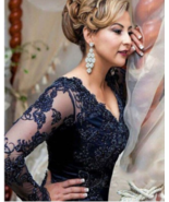 Sexy Long Mermaid Lace Vintage Navy Blue Lace Mother of the Bride Dress - £122.54 GBP+