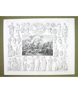 APHRODITE BIRTH Mythology Gods Vesta Apollo Diana - 1844 SUPERB Engravin... - $16.84
