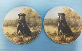 2 Tile Trivet Coaster Rottweiler Puppy Dog Design Ceramic Hunting Black - $22.99
