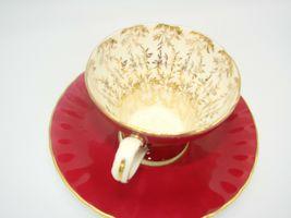 Aynsley Bone China Maroon Gold Floral Interior Corset Waist Tea Cup Saucer 1950 image 8