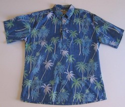 Cooke Street MEDIUM Hawaiian Shirt Blue Palm Trees Honolulu 100% Cotton ... - $29.02