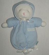Prestige Little Me Baby White Teddy Bear Blue Bunting Toy Rattle Plush V... - $44.99