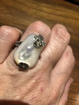 VINTAGE Mother Of Pearl MARCASITE RING 925 Sterling Silver Deco Cocktail - $143.55