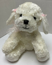 """Russ Berrie Plush Mollie Dog 9"""" White Pink Ribbons Silky Soft Rare Puppy - $19.99"""