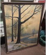Antique Rahael Senseman Water Color Painting Winter Stream Landscape Huge - $566.99