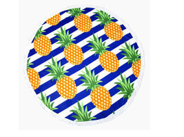 Yellow Pineapple Round Beach Throw Tassel Beach Blanket, Towel, Wrap, Ru... - $456,34 MXN