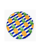 Yellow Pineapple Round Beach Throw Tassel Beach Blanket, Towel, Wrap, Ru... - £18.17 GBP