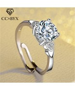 CC Adjustable Rings For Women 925 Silver Round Stone Cubic Zirconia Hear... - $10.88