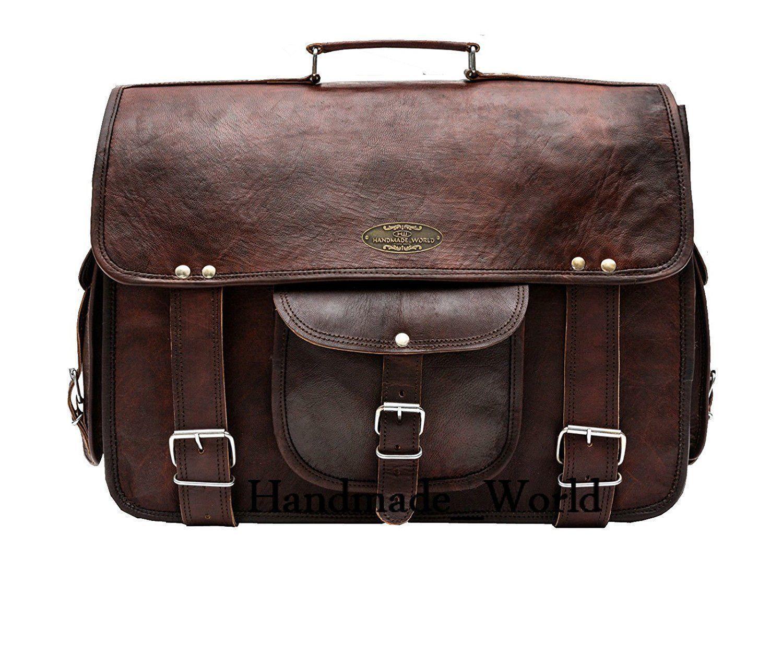 "Handmade_World Leather Messenger Bags for Men Women 18"" Men Briefcase Laptop Bag image 2"