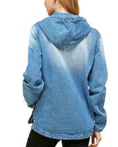 Women's Cotton Casual Hoodie Half Zip Pullover Denim Jean Jacket - M image 5
