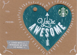 Starbucks 2017 You're Awesome Mini Heart Collectible Gift Card New No Value - $1.99