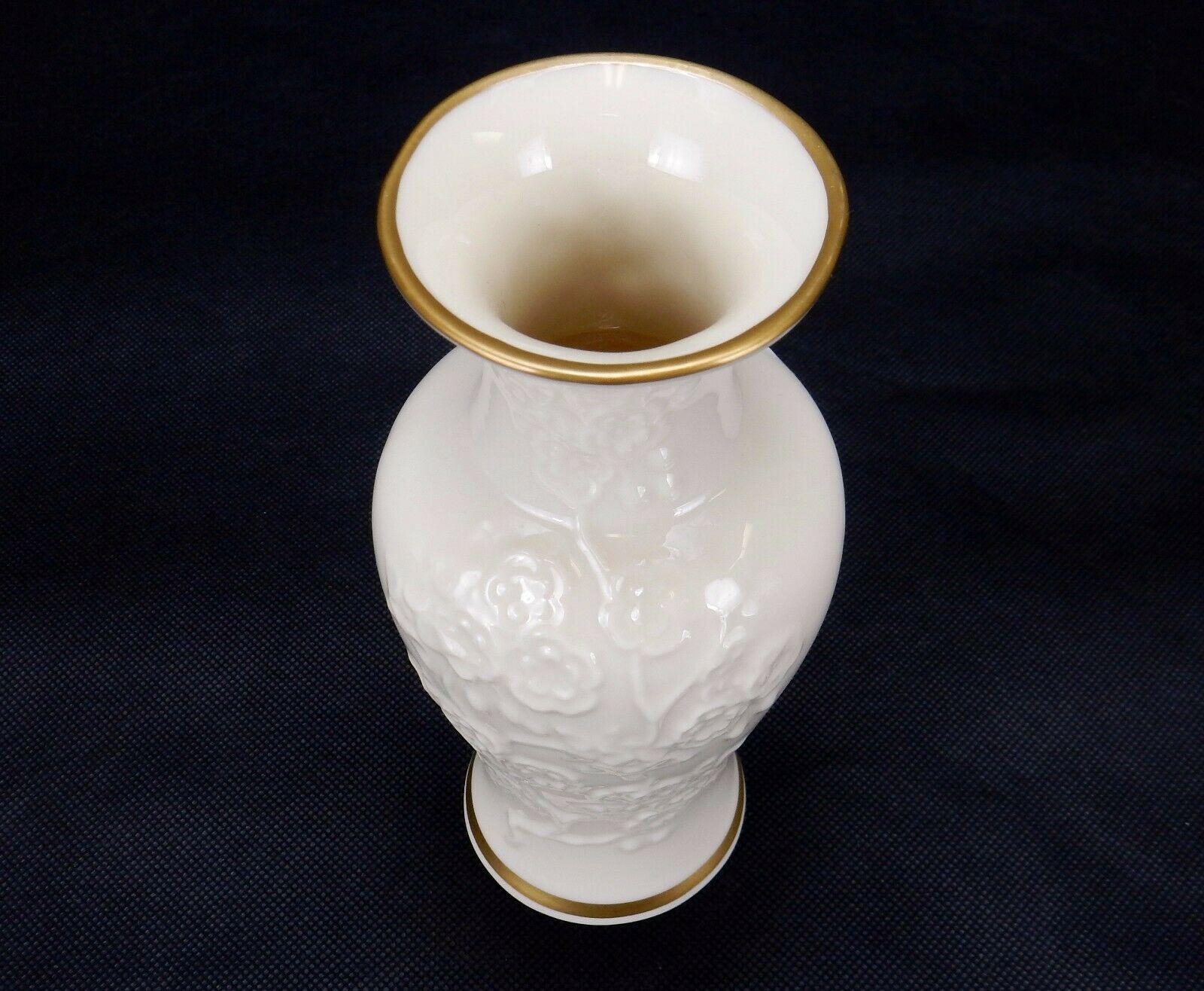 Lenox Ming Blossom Collection Ivory Bud Vase, Raised Floral Design 22K Gold Trim