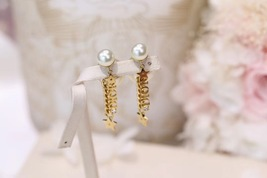 AUTH CHRISTIAN DIOR 2020 J'ADIOR DOUBLE PEARL GOLD STAR DANGLE FINISH EARRINGS image 7