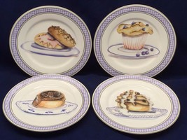 4 American Atelier Breakfast Treats Canape Bread Plates Muffins Bagels R... - $18.80