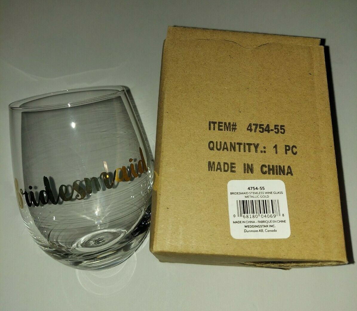 Primary image for Stemless Toasting Wine Glass Gift For Wedding Party Bridesmaid 2 Pack